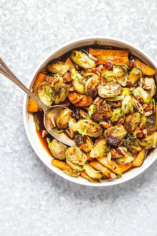 Roasted Brussels Sprouts And Sweet Potato With Balsamic